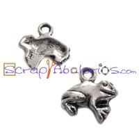 Colgante charm ranita de plata tibetana 13x13 mm