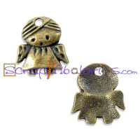 Colgante charm bronce angelito guarda mini 13.5x12 mm