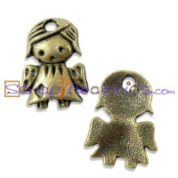 Colgante charm bronce angelita guarda mini 13.5x12 mm