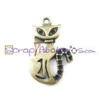 Colgante charm gato estiloso bronce 26x16  mm