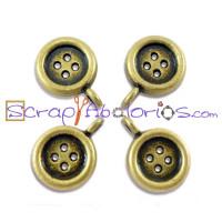 Colgante charm bronce boton costura, 10 mm