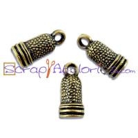 Colgante charm bronce dedal costura, 10 mm