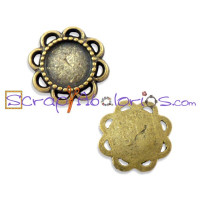 Flor mini camafeo bronce 14 mm, interior 8.5 mm
