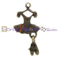 Colgante charm bronce ballet: tutu y puntas 26x13 mm