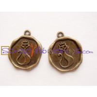 Colgante charm bronce, chapa medalla gato 22x18 mm