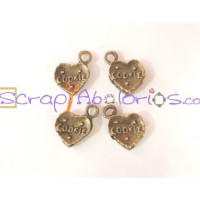 Colgante charm bronce, galleta cookie corazon 15x11x3.5 m