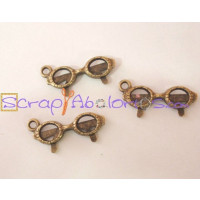 Colgante charm bronce, gafas 23x9 mm