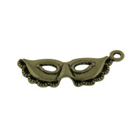 Colgante charm bronce mascara antifaz  30x12 mm