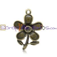 Colgante charm bronce flor florecilla 28x20 mm ( para strass)