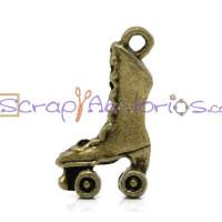 Colgante bronce patines patinadora 21x12 mm