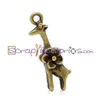 Colgante charm bronce jirafa flor 25x8 mm