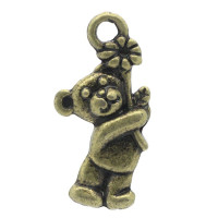 Colgante charm bronce osito con flor 19x9 mm