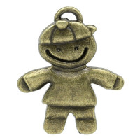 Colgante charm bronce nene con gorra 39x33 mm