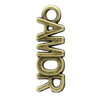 Colgante charm bronce palabra AMOR 21x7 mm