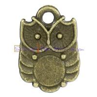 Colgante charm bronce buho 14x10 mm