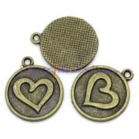 Colgante charm bronce medalla corazón 21x18 mm