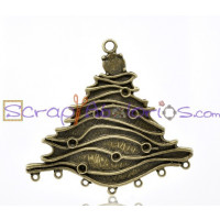 Colgante charm bronce arbol navidad grande 69x74 mm