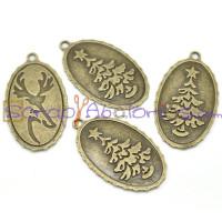 Colgante charm bronce colgante medalla arbol  y ciervo 44x26 mm