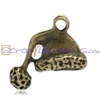Colgante charm bronce gorrito papa noel 24x17 mm