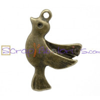 Colgante charm bronce paloma de la paz 22x15 mm