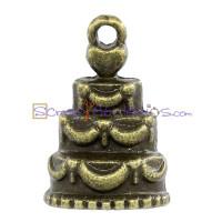 Colgante charm bronce tarta nupcial 17x11 mm