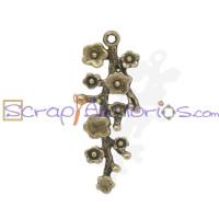 Colgante charm bronce flores enredadera 42x17 mm