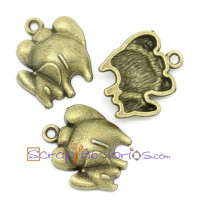 Colgante charm bronce elefante y elefantito trasero 18x16mm
