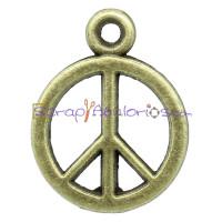 Colgante charm bronce simbolo paz 18x14 mm