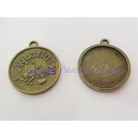 Colgante charm bronce horoscopo ACUARIO.30X27 mm. Taladro 2.5 mm