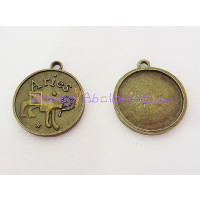 Colgante charm bronce horoscopo ARIES.30X27 mm. Taladro 2.5 mm