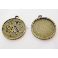 Colgante charm bronce horoscopo VIRGO 30X27 mm. Taladro 2.5 mm