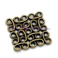 Entrepieza bronce cuadrado conector 15x15 mm ( 4 uds)