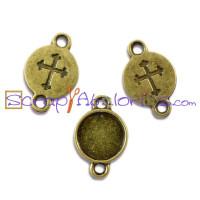 Entrepieza conector 16x11mm bronce cruz camafeo 8.5 mm (10 uds.)