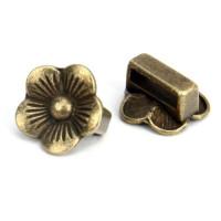 Entrepieza bronce flor 15 mm. Paso plano 10x3 mm