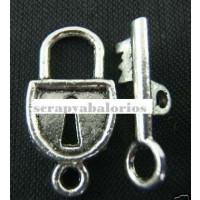 Cierre llave y candado plata tibetana 21x11 mmm