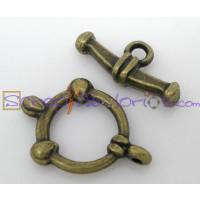 Cierre aro y barrita bronce bolitas 14x20  mm. (2 piezas)
