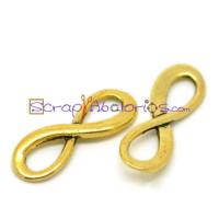 Colgante charm dorado conector simbolo infinito 23x8 mm