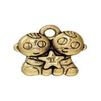 Colgante charm dorado pareja gemelos 14x13 mm