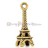 Colgante charm dorado simbolo Torre Eiffel 21x9 mm