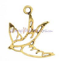 Colgante charm dorado simbolo silueta ave 27x23 mm