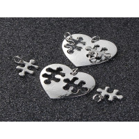 Base grabar conjunto corazon 30x27 y puzzles 14x15mm - 3 pcs