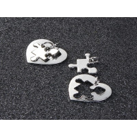 Base grabar conjunto corazon 24x24 y puzzle 18x17mm - 2 pcs