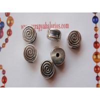Moneda plata tibet pequeña espiral 8x8 mm, int. 6x2 mm