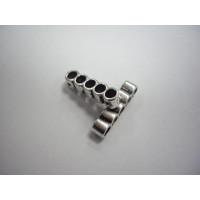 Entrepieza separador de 5 hilos plata tibetana 22x5 mm, int 3 mm