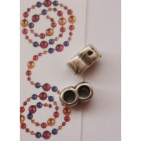 Entrepieza plata tibetana Separador de 2 hilos  9x5 mm