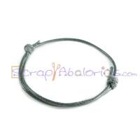 Pulsera algodon encerado 1.5mm gris ajustable 40-70 mm