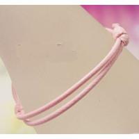 Pulsera algodon encerado 1.5mm rosa claro ajustable 40-70 mm