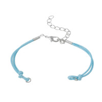 Base pulsera algodón azul con cierre medida 14.3 cm