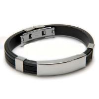Base pulsera caucho negro y acero para grabar (personalizable)