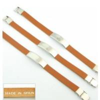 Pulsera cuero marron y acero (personalizable)